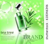 green repair serum with tea... | Shutterstock .eps vector #618346346
