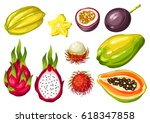 exotic tropical fruits set.... | Shutterstock .eps vector #618347858