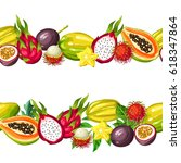 seamless border with exotic... | Shutterstock .eps vector #618347864