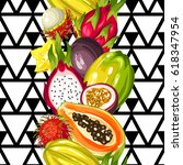 seamless pattern with exotic... | Shutterstock .eps vector #618347954