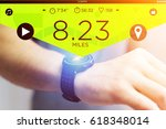 view of a running interface on... | Shutterstock . vector #618348014
