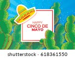 happy cinco de mayo greeting... | Shutterstock .eps vector #618361550