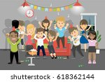 party at home. young people... | Shutterstock .eps vector #618362144