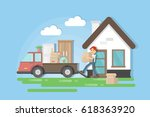 moving to a new house. man in... | Shutterstock .eps vector #618363920