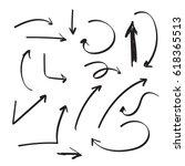 set of vector arrows hand drawn....   Shutterstock .eps vector #618365513