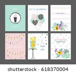happy birthday cards set.... | Shutterstock .eps vector #618370004