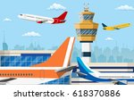 airport control tower and... | Shutterstock . vector #618370886