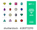 outline color icons set in thin ... | Shutterstock .eps vector #618372293
