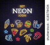 set neon icon. neon sign ... | Shutterstock .eps vector #618378434