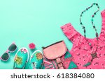 fashion woman clothes... | Shutterstock . vector #618384080