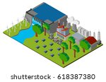 scene with dam and power... | Shutterstock .eps vector #618387380