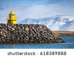 yellow lighthouse tower on... | Shutterstock . vector #618389888