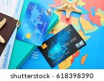 credit cards on world map... | Shutterstock . vector #618398390