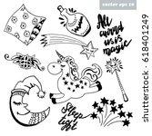 happy cartoon unicorn dream.... | Shutterstock .eps vector #618401249