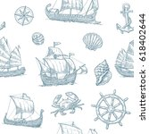 Seamless Pattern With Trireme ...