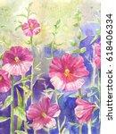 mallow sketch. watercolor...   Shutterstock . vector #618406334