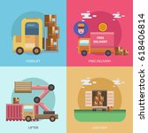 cargo and delivery conceptual... | Shutterstock .eps vector #618406814