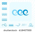 blue sea wave icons or water... | Shutterstock .eps vector #618407000