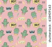 Cartoon Cactus Cat. Cool Print