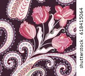 seamless pattern with pink red... | Shutterstock .eps vector #618415064