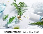 spa setting with cosmetic cream ... | Shutterstock . vector #618417410