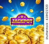 jackpot winner background. gold ... | Shutterstock .eps vector #618421520