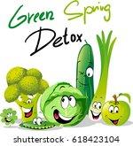 green spring detox   funny... | Shutterstock .eps vector #618423104