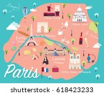 map of paris attractions vector ... | Shutterstock .eps vector #618423233