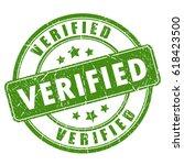 green verified rubber stamp...   Shutterstock .eps vector #618423500