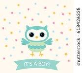 baby boy arrival vector card... | Shutterstock .eps vector #618426338