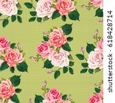 seamless floral pattern with... | Shutterstock .eps vector #618428714