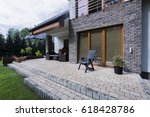small concrete terrace with... | Shutterstock . vector #618428786