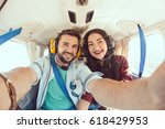 happy smiling couple making... | Shutterstock . vector #618429953