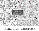 set of two hand drawn seamless... | Shutterstock .eps vector #618430028
