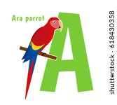 cute alphabet letter with birds.... | Shutterstock .eps vector #618430358