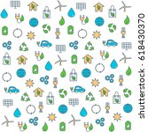 seamless pattern with eco icons ... | Shutterstock .eps vector #618430370
