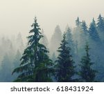 foggy morning summer landscape... | Shutterstock . vector #618431924