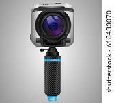 modern white action camera with ... | Shutterstock .eps vector #618433070