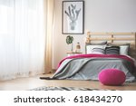 king size bed in bright bedroom ... | Shutterstock . vector #618434270