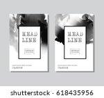 black abstract design set. ink... | Shutterstock .eps vector #618435956