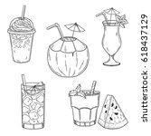 set of hand drawn summer drinks....   Shutterstock .eps vector #618437129