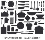 kitchen tools silhouette set.... | Shutterstock .eps vector #618438854