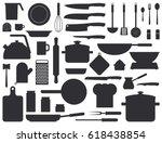 Kitchen Tools Silhouette Set....