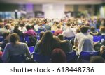 a lot of young people in a big... | Shutterstock . vector #618448736