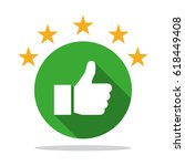 thumb up icon with shadow with... | Shutterstock .eps vector #618449408