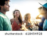 multicultural group of friends... | Shutterstock . vector #618454928