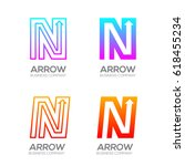 letter n with arrow  finance ... | Shutterstock .eps vector #618455234