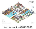 set of isolated isometric... | Shutterstock .eps vector #618458030