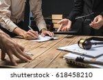 teamwork of business lawyer... | Shutterstock . vector #618458210