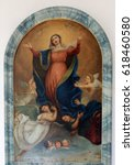 Small photo of PRIMISWEILER, GERMANY - OCTOBER 20: Assumption of the Virgin Mary, altarpiece in church of St. Clement in Primisweiler, Germany on October 20, 2014.